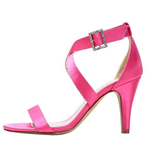 Strap Stiletto Mariage Noce Hot Hp1818 De Cross Boucle Hauts Satin Elegantpark À Ouvert Bout Femmes Chaussures Talons Pink Sandales A1pXv