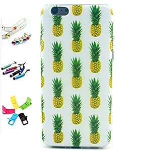ZXSPACE Pineapple Pattern with Stylus ,Anti-Dust Plug and Stand TPU Soft Case for iPhone 6