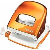 Leitz Perforatore per ufficio, 30 fogli, Guida di arresto con sistema di fissaggio, Metallo, Arancione metallizzato, WOW NeXXt, 50081044