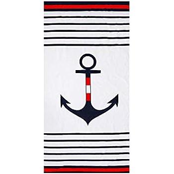 Amazon.com: Hencely Anchor - Toalla de playa azul marino ...