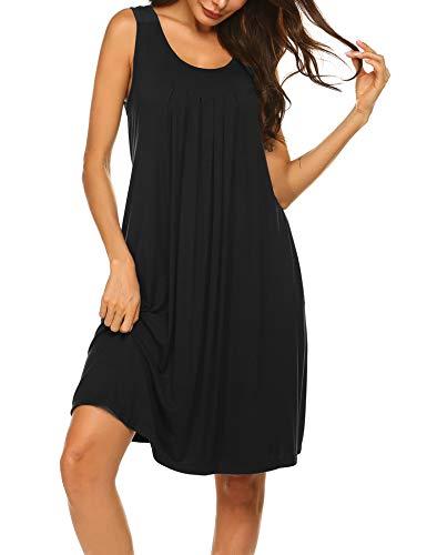 Hotouch Women's Cotton Nightgown Sleeveless Nightshirt Dress Sleepwear Black XXL