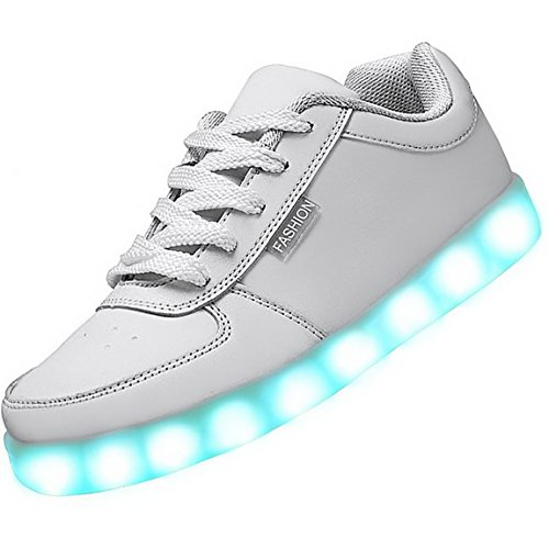 Aivtalk 7 Colors LED Light-Up Couple Women's Men's Sport Shoes Sneakers USB Charging for Valentine's Day White Size 6.5