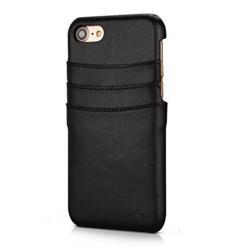 iPhone 7 case Leather Wallet Card Holder Case Leather (Black)