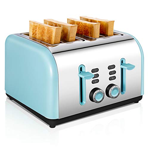 - 4 Slice Toaster, CUSINAID Stainless Steel Toasters with Reheat Defrost Cancel Function, 7-Shade Setting, 4 Wide Slots Toaster (Blue)
