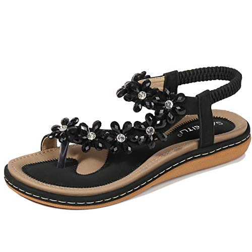 (Women's Flat Sandals Soft Casual Sandals for Women Beach Wear Comfort Thong Style in Summer or Holiday - Flower Black 10 M)