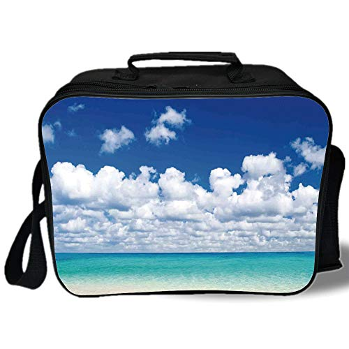 - Ocean 3D Print Insulated Lunch Bag,Paradise Beach and Tropical Hawaiian Style Exotic Sky Color with Clouds Scene Decorative,for Work/School/Picnic,Turquoise Azure White