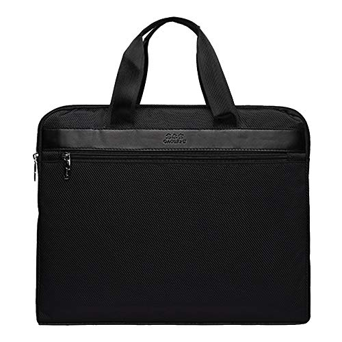 Monique Oversize Stripes Contrast Color File Folder Two Compartments Waterproof Handbag Briefcase Portable Document Paper Organizer Holder 3599 Black