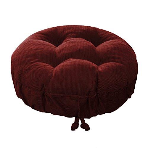 Padded Round Bar Stool Cover - Pinwale Corduroy Garnet Red - Size Standard - Latex Foam Fill Barstool Cushion with Adjustable Drawstring Yoke - Made in USA (Garnet Red, Standard)