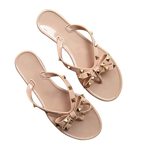 Yehopere Womens Bow Flip Flops Sandals Studded Jelly Shoes Summer Beach Thong Slippers Nude, 5.5]()