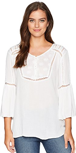 Scully Women's Honey Creek by Hi/Lo Lace Crochet Blouse Ivory Large - Scully Lace Blouse