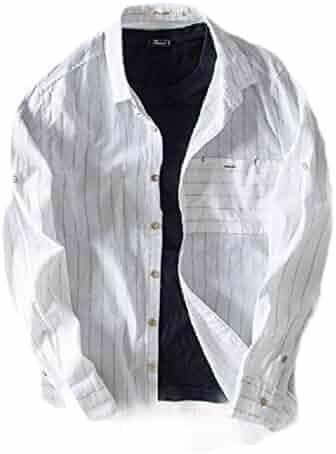 pipigo Mens Curved Hem Basic Long Sleeve Lapel Neck Plaid Button Down Shirts