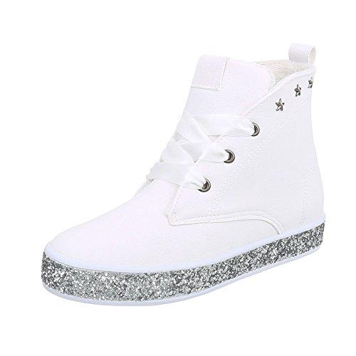 Zapatos para mujer Botas Plataforma Botines de cordones Ital-Design Blanco