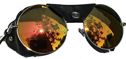 Round Shield Sunglasses - Road Vision Round Lens Motorcycle Sunglasses Steampunk (Chrome, Orange / Rose Mirror)