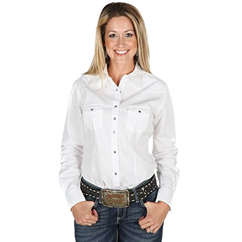 Rod Yoke (Wrangler Women's Western Yoke Two Snap Flap Pocket Shirt, White, Medium)