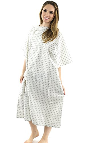 Hospital Gown (2 Pack) Cotton Blend Useful Fashionable Patient Gowns Back Tie 46