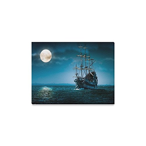 Delighin Wall Art Modern Giclee Canvas Prints Night Moon Pirate Sailing Ship Pictures Prints on Canvas Wall Art for Home Office Corridor Office Living Room Bedroom Decor Wall Art - Size 16x12 Delighin346