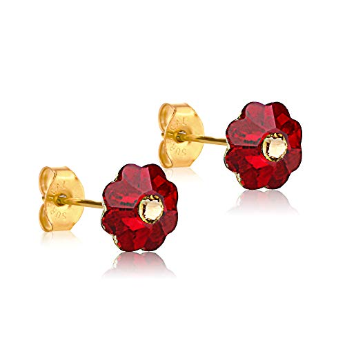 24K Gold Coated Stud Earrings hypoallergenic by clecceli (Siam/Gold)