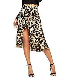 Verdusa Falda Envolvente con Estampado de Leopardo con Volantes para Mujer
