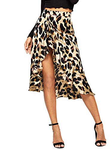Verdusa Women's Ruffle Trim Leopard Print Wrap Skirt Multicolor XS