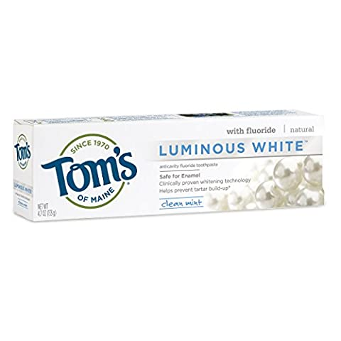 Tom's of Maine Luminous White Whitening Natural Toothpaste, Clean Mint, 4.7 Ounce