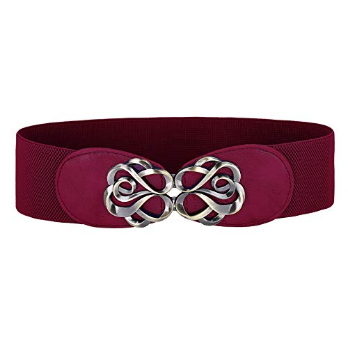 Belle Accessories Vintage Plus Size Stretchy Belt Orange Belt for Women, Wine Red, X-Large (Belt Wine)