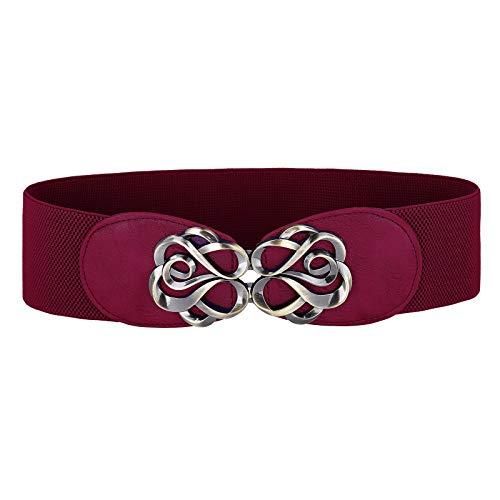 Vintage Stretchy Waist Belt Elastic Stretch Retro Cinch Belt for Jeans Pants Dresses, Wine Red, Large ()