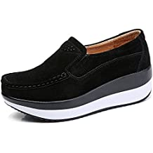 HKR Women Loafers Slip On Platform Sneakers Comfort Suede Driving Moccasins Shoes