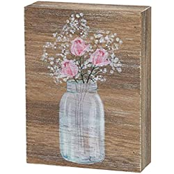 "Collins Painting Inspirational Wood Grain Mini Block Sign, 4"" (Roses)"