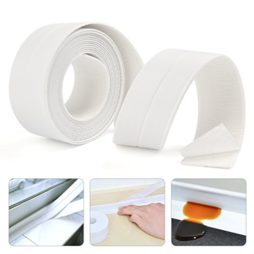 "FOCCTS Bathtub Caulk Strip 1-1/2"" x 11' - Almond White Self Adhesive Waterproof PE Caulking Tape for Bathroom Shower Bath Tub Toilet Wall Window Kitchen Sink Sealing"