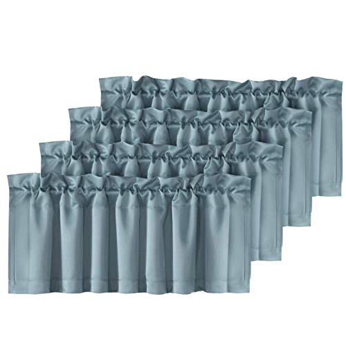 H.VERSAILTEX Home Fashion Curtain Valance Room Darkening Solid Curtain Valances, 52-inch by 18-inch, Set of 4 Pack, Stone Blue