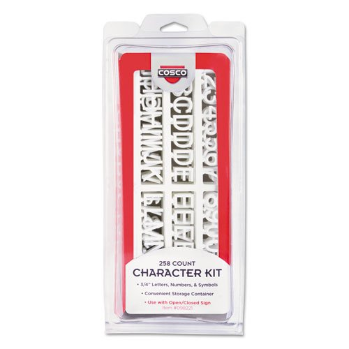 Character Kit, Letters, Numbers, Symbols, White, Helvetica, 258 Pieces, Sold as 1 Each Consolidated Stamp Plastic Stamp