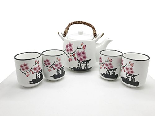 Japanese Torii and Cherry Blossom Sakura Tea Set Ceramic Teapot with Rattan Handle and 4 Tea Cups