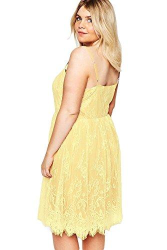 Nueva mujer Plus tamaño amarillo Sweet Lace Skater vestido Casual noche fiesta wear plus tamaño UK 16–�?8EU 44–�?6