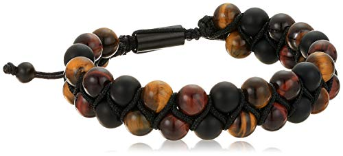 (Steve Madden Men's Brown Simulated Tiger's Eye Double Beaded Adjustable Bracelet in Black IP Plated Stainless Steel,)