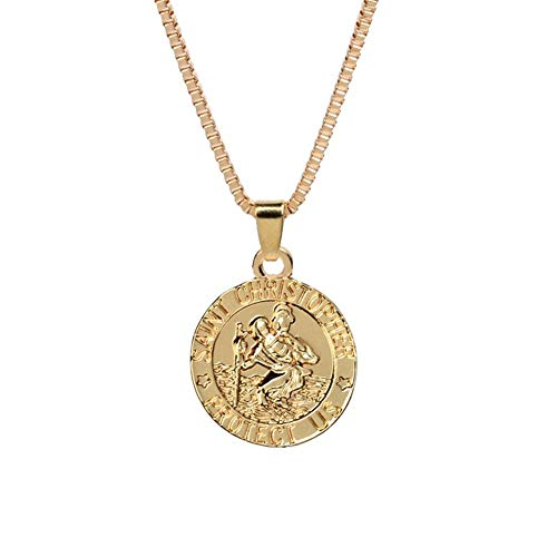 AILUOR St Christopher Medal Patron Saint of Travelers Catholic Protection Pendant Necklace, Gold Silver Tone Devotional Pendant with Prayer Card Jewelry Unisex (Gold) - Gold Saint