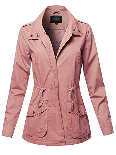 Casual High Neck Military Roll-Up Sleeves Jacket Mauve L