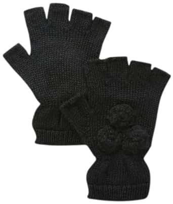 San Diego Hat Company Women's Knit Fingerless Glove with Crochet Flower, Black, One Size