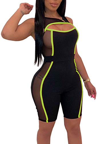Yiershu Women Bodycon Short Pants Sexy Cut Out Sleeveless See Through Stripes Rompers Casual Scoopneck Breathable Party Jumpsuits Solid Slim Fit Black Green