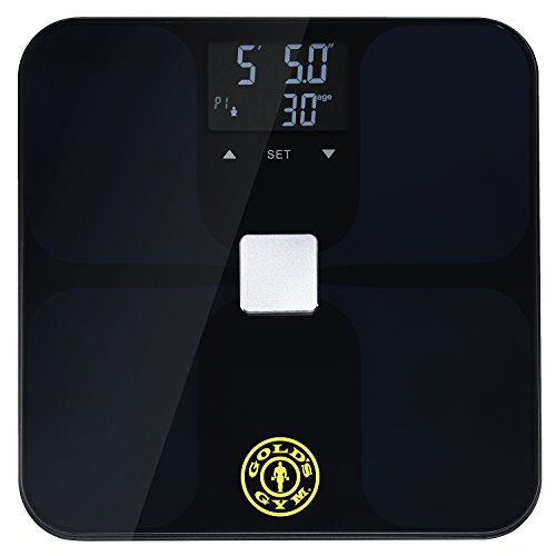 Measure Body Fat Composition (Gold's Gym Smart Biometric Digital Body Composition Fitness Bathroom Scale Measures Weight, BMI, Body Fat, Water and Muscle Mass, Kcal/BMR, Bone Mass - Auto Memory For Up to 9 Users - Black)