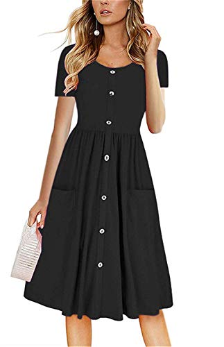 LAMISSCHE Womens Summer Casual Short Sleeve V Neck Button Down A-line Dress with Pockets(Black,S) ()