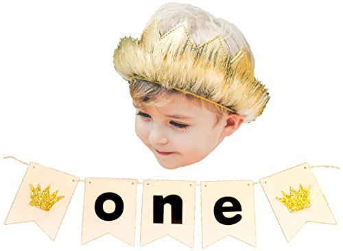 Wild Gold Pleather Fur Crown withone Birthday Party Banner Set Cake Smash