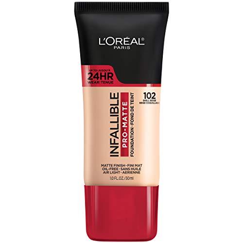 L'Oreal Paris K1828700 Infallible Pro-Matte Liquid Longwear Foundation Makeup, 102 Shell Beige, 1 Fl; Oz.