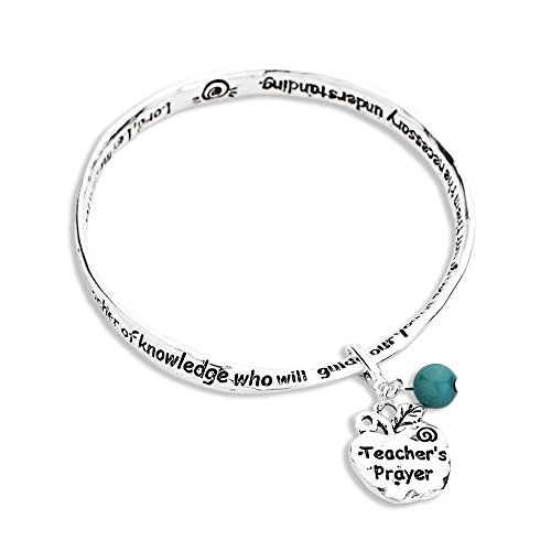 Sw Apple Accents (Rosemarie Collections Women's Teacher's Prayer Bangle Bracelet with Apple Charm Blue Bead)