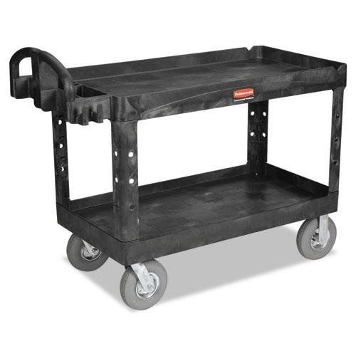 RUBBERMAIDCOMMERCIAL 4546BLA Heavy-Duty Utility Cart, Two-Shelf, 25-1/4w x 54d x 43-1/8h, Black