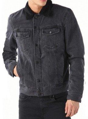 DIESEL ディーゼル メンズ 中綿 デニムボアジャケット ブラック 黒 Gジャン イタリアインポートLサイズ B079CQG638