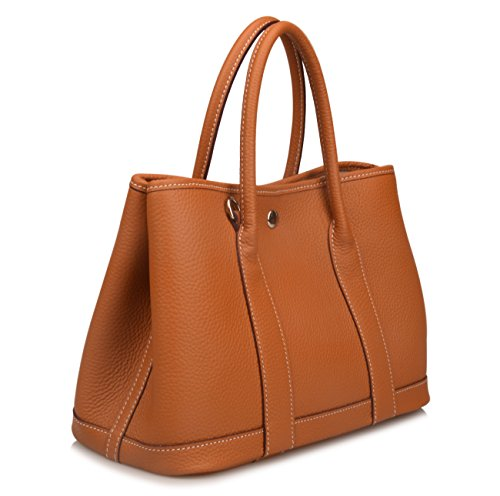 (Qidell Women's Genuine Leather Tote Bag Top Handle Handbags (Small,)