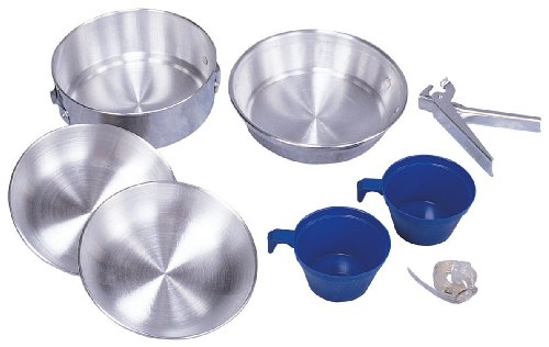 Stansport Deluxe Polished Outside Aluminum Cook Set, 8-Piece (Polished Cookware Aluminum)