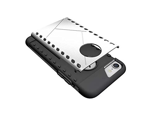 Apple iPhone 7 4.7 zoll 2016 DEFENSE case Silver Tasche Hülle mit stand - Zubehör Etui cover iPhone 7 Dual SIM (Silber) - XEPTIO accessoires