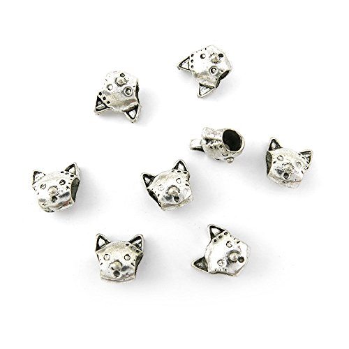 Qty 10 Pieces Ancient Silver Jewelry Making Charms Findings T0496 Cat Loose Beads Bulk for Bracelet Necklace - Cat Beads