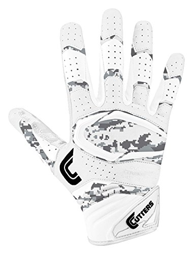 Cutters Gloves S451 Rev Pro 2.0 Receiver Cornerback Gloves With C-Tack Grip, WHITE/CAMO, Adult M (Cutter Grip)